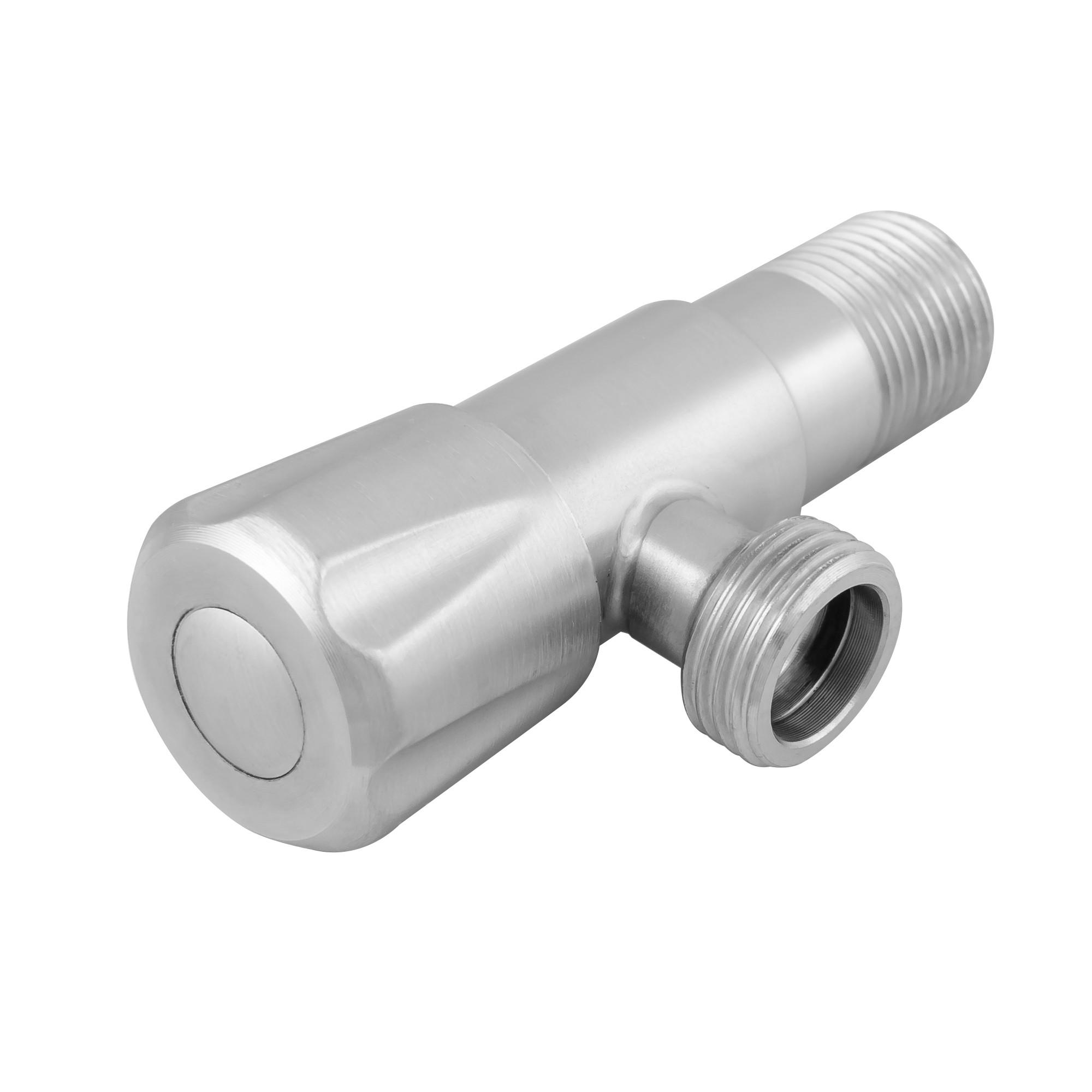 Кран угловой вентильный (приборный) 1/2н-1/2н нержавейка, (01) J.G.