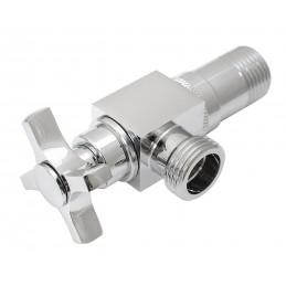 Кран кутовий вентильний з поворотним корпусом 360 ° 1/2Н*1/2Н хром, латунь, ANGO JF-208, букса механіка ANGO