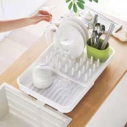 Раздвижная сушилка для посуды и кухонных принадлежностей с сливом, сушилка-органайзер ANGO ANGO