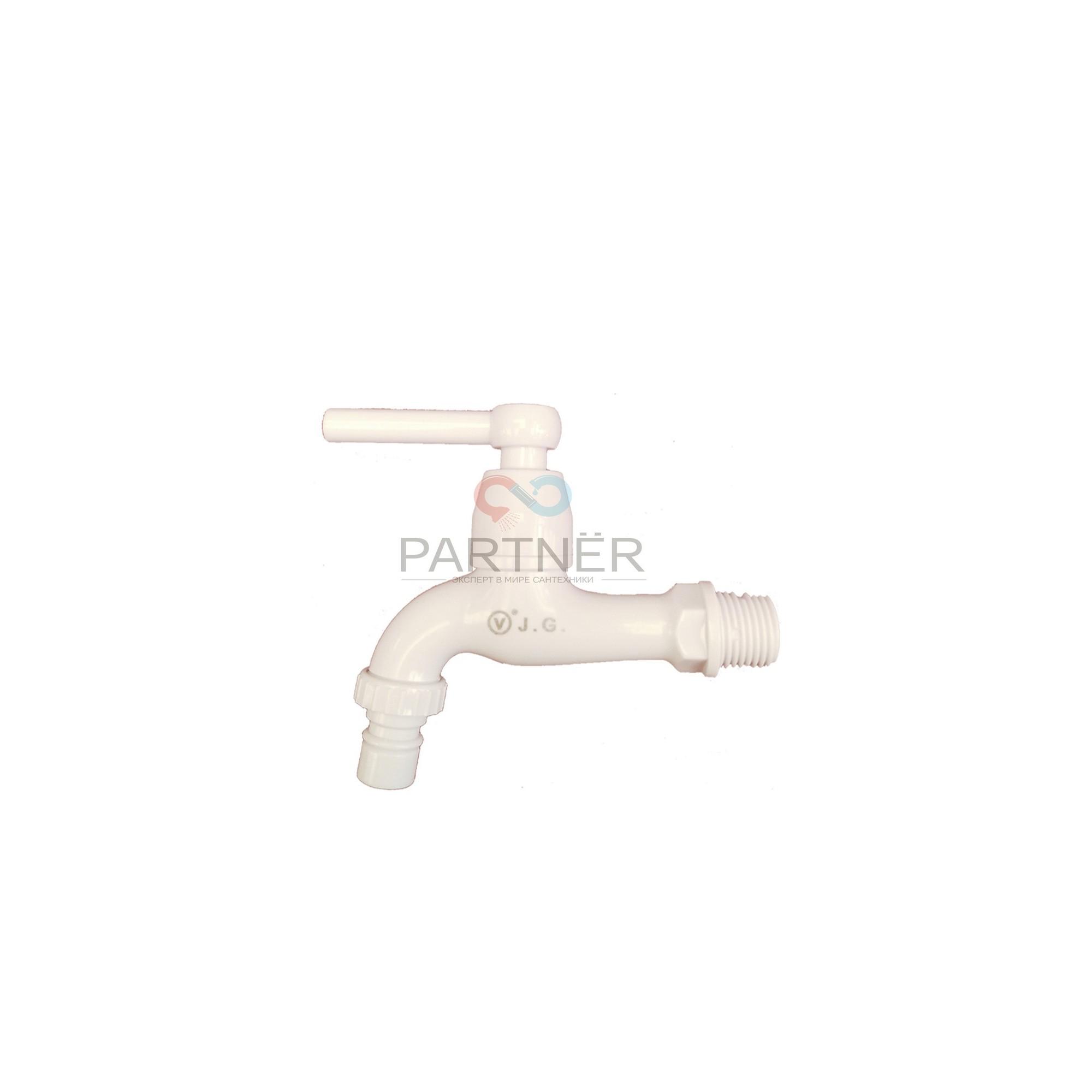 Кран сливной (водоразборный) 1/2 пластиковый 10,5см хромированный 1504 WF Valve J.G. J.G. - 1