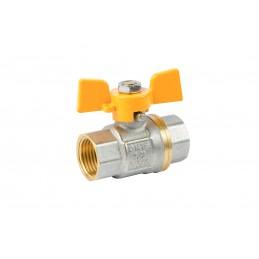 Кран шаровый ANGO 1/2'' вв желтая бабочка газовый, Pn 40 ANGO - 1