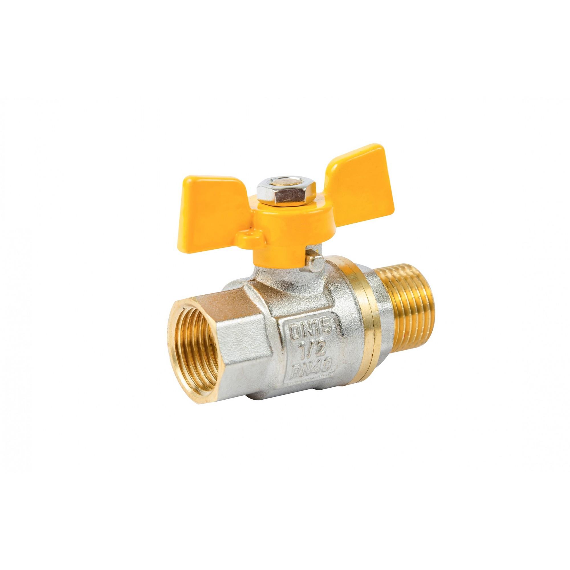 Кран шаровый ANGO 1/2'' нв желтая бабочка газовый, Pn 40 ANGO - 1
