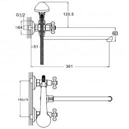 Смеситель для ванны Zegor DMT7-B722 Zegor - 3