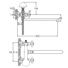 Смеситель для ванны Zegor DFR7-B722 Zegor - 5