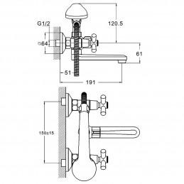 Смеситель для ванны Zegor DMT3-A722 Zegor - 3
