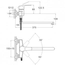 Смеситель для ванны Zegor EDN6-A183 Zegor - 5