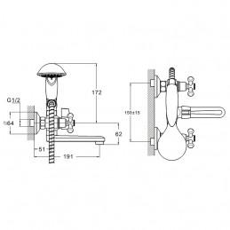 Смеситель для ванны Zegor DML3-A827 Zegor - 3