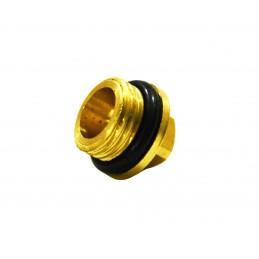Заглушка 1/4 наружная резьба, под ключ М8 для компрессора с прокладкой, латунь J.G. - 1