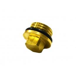 Заглушка 1/4 наружная резьба, под ключ М8 для компрессора с прокладкой, латунь J.G. - 2