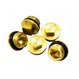 Заглушка 1/4 наружная резьба, под ключ М8 для компрессора с прокладкой, латунь J.G. - 3
