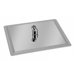 Лейка потолочная квадратная нержавейка Ultra Slim силикон 200 мм, тропический душ С-07Z ANGO